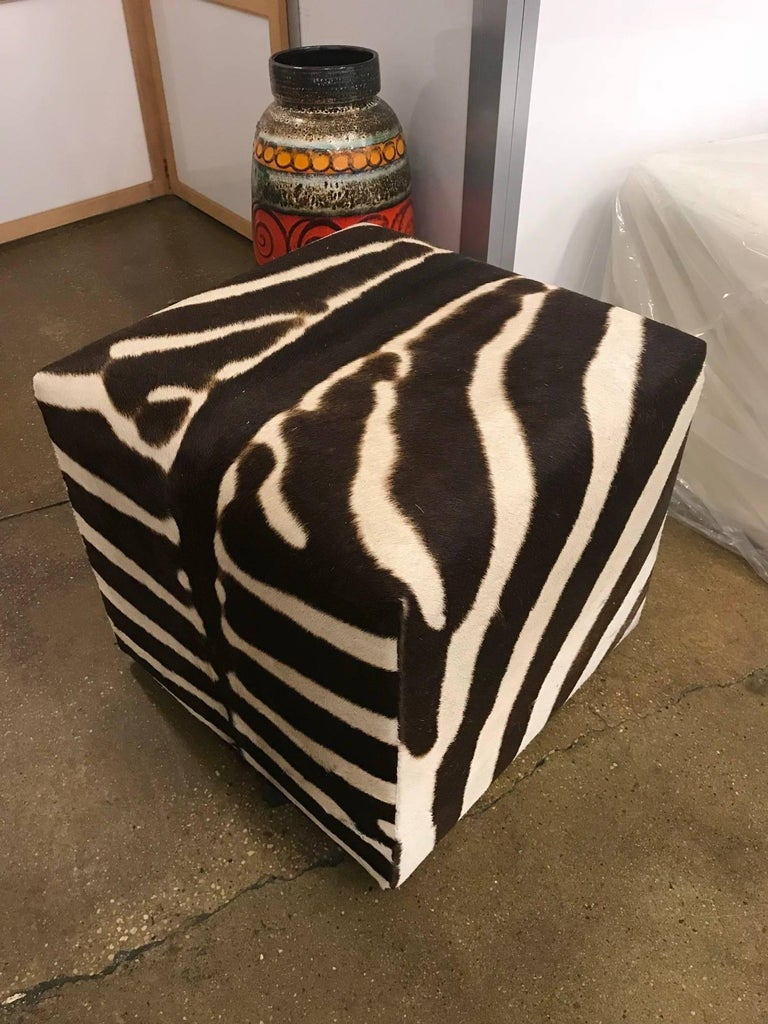 Contemporary African Zebra Cube, Ottoman For Sale
