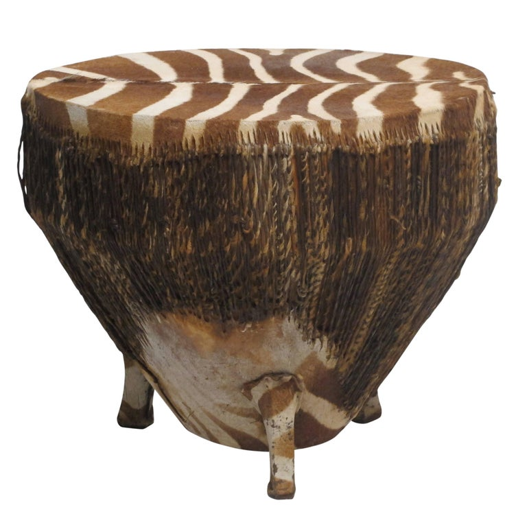 Hand-Crafted African Zebra Hide Drum For Sale