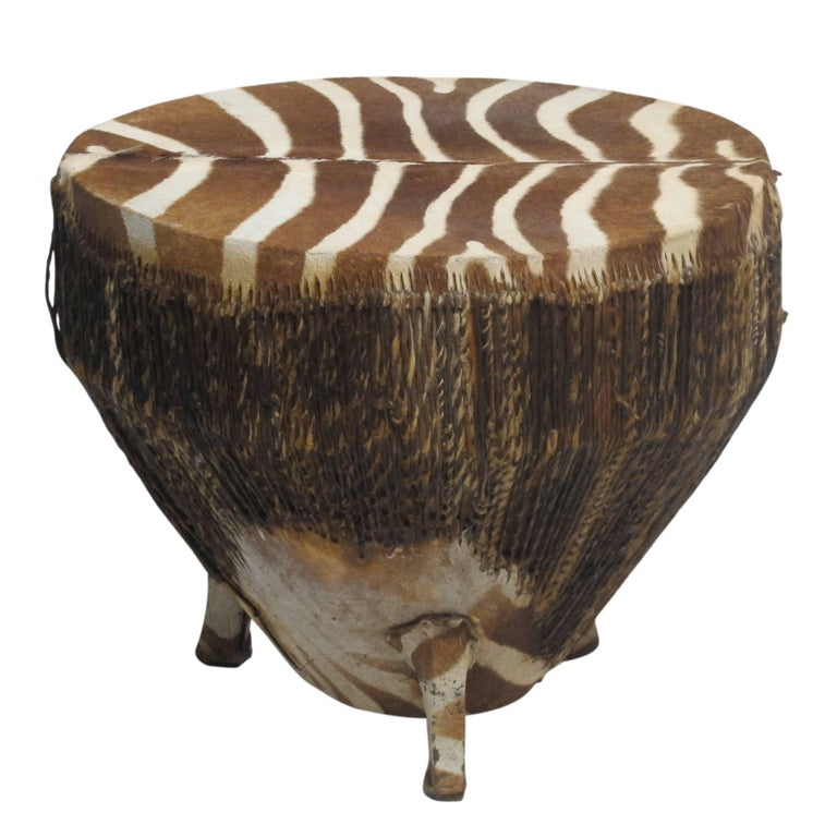African Zebra Hide Drum In Excellent Condition For Sale In San Francisco, CA