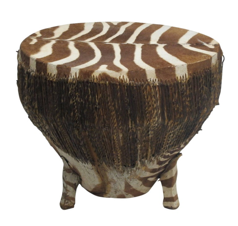 20th Century African Zebra Hide Drum For Sale