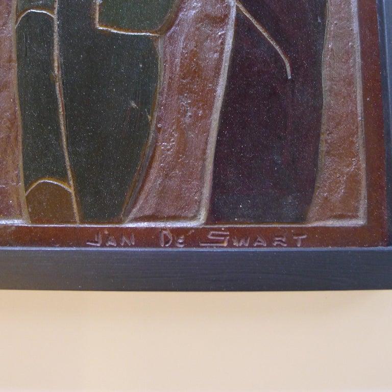 American Africana Tribal Relief Panel Art Signed Jan De Swart For Sale