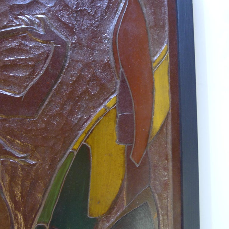 Africana Tribal Relief Panel Art Signed Jan De Swart In Excellent Condition For Sale In Los Angeles, CA