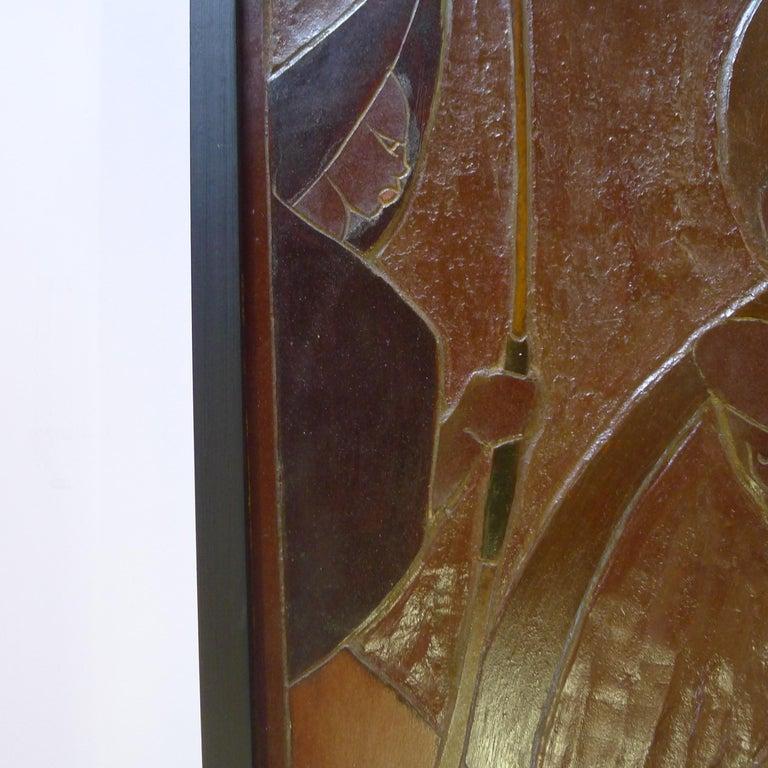 20th Century Africana Tribal Relief Panel Art Signed Jan De Swart For Sale