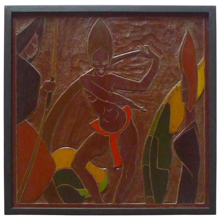 Africana Tribal Relief Panel Art Signed Jan De Swart For Sale