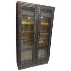 Africanist Showcase Cabinet in Carved Wood, circa 1950