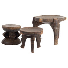 Africans Wooden Stool and Two Cups