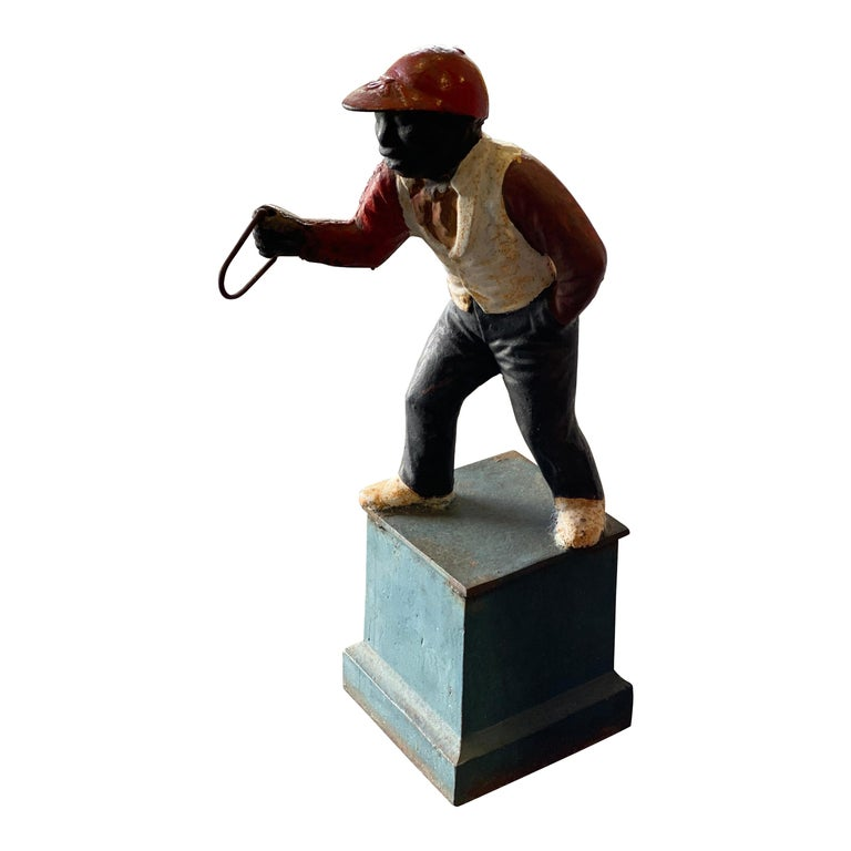 "Afro-Americana Lawn Jockey ""Jocko the Jockey"", Cast Iron, Early 20th Century For Sale"