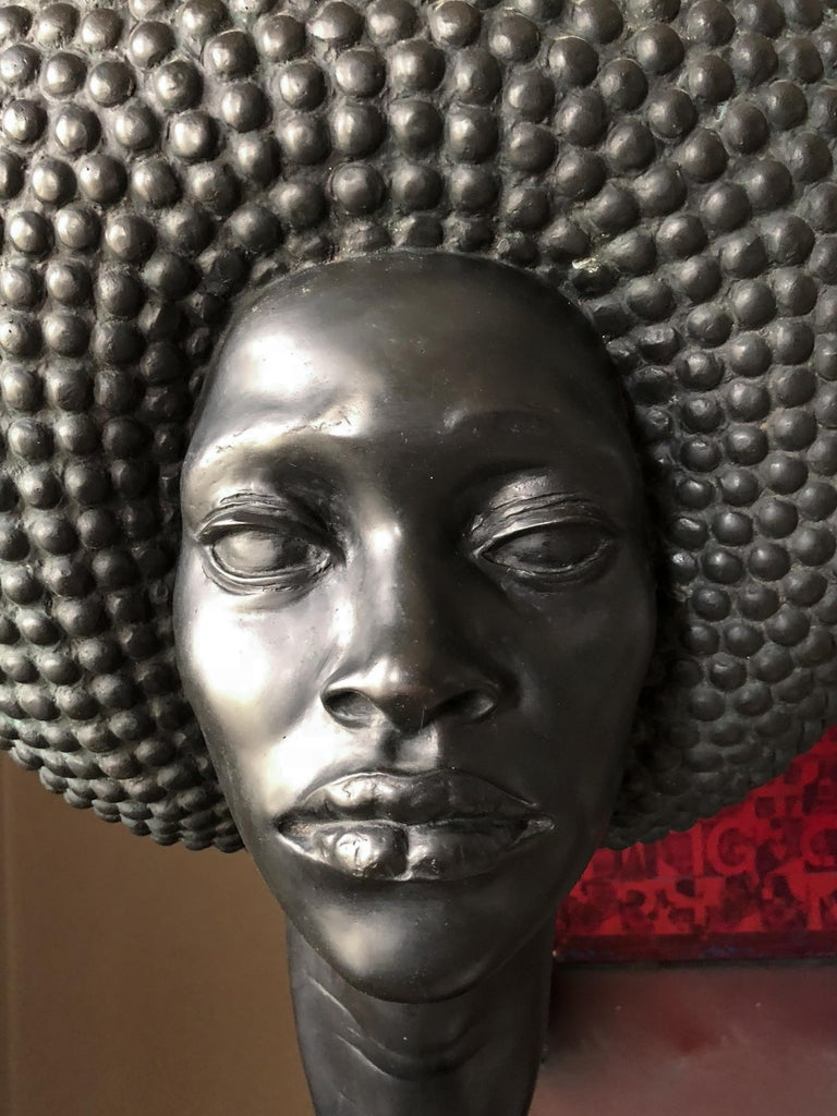 Afro bronze, signed Hans Jorg Limbach (1928-1990). Edition of two.