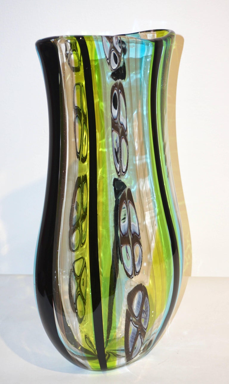 Afro Celotto 1990 Black Green Aqua Blue Crystal Murano Glass Tall Modern Vase 6