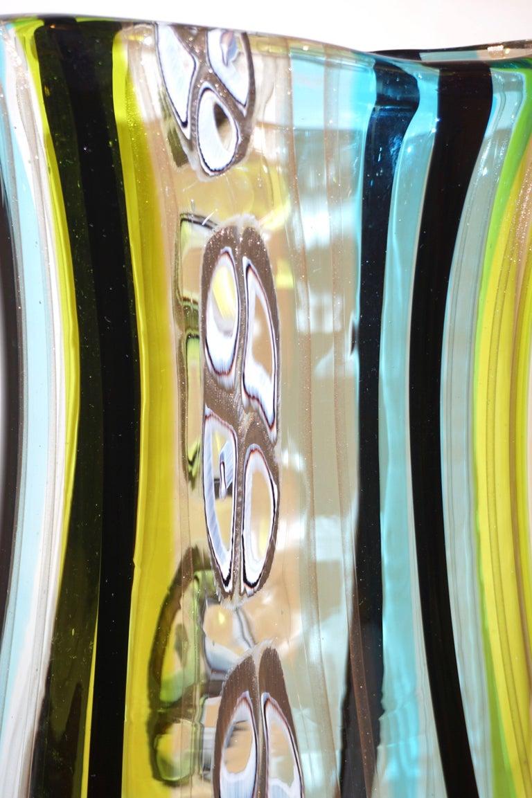 Organic Modern Afro Celotto 1990 Black Green Aqua Blue Crystal Murano Glass Tall Modern Vase