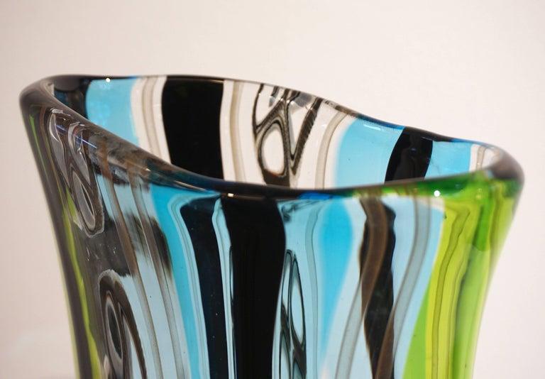 Late 20th Century Afro Celotto 1990 Black Green Aqua Blue Crystal Murano Glass Tall Modern Vase