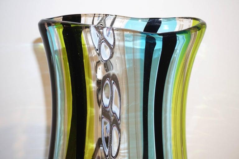 Afro Celotto 1990 Black Green Aqua Blue Crystal Murano Glass Tall Modern Vase 1
