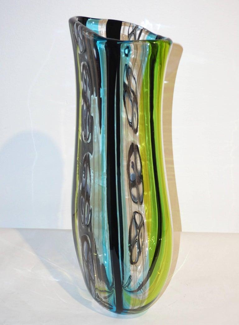 Afro Celotto 1990 Black Green Aqua Blue Crystal Murano Glass Tall Modern Vase 2