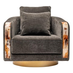 Afrodite Armchair in Cortina Fabric with Armrests in Horn, Mod. 7044B