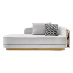 Afrodite Chaise Longue in Belsuede Fabric with Armrests in Horn, Mod. 7043B