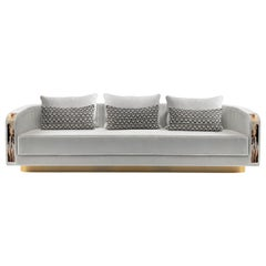 Afrodite Sofa in Belsuede Fabric with Armrests in Corno Italiano, Mod. 7040B