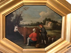 17th Century Dutch Oil Painting Milkmaid Milking a Cow in a Landscape