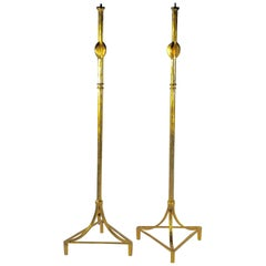 After Alberto Giacometti Pair of Gold-Leafed Bronze Floor Lamps