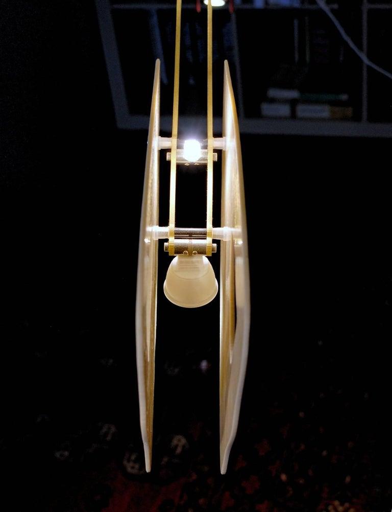 Illuminated Sculpture Murano Glass Brass Mobile Chandelier, Cobalt For Sale 14