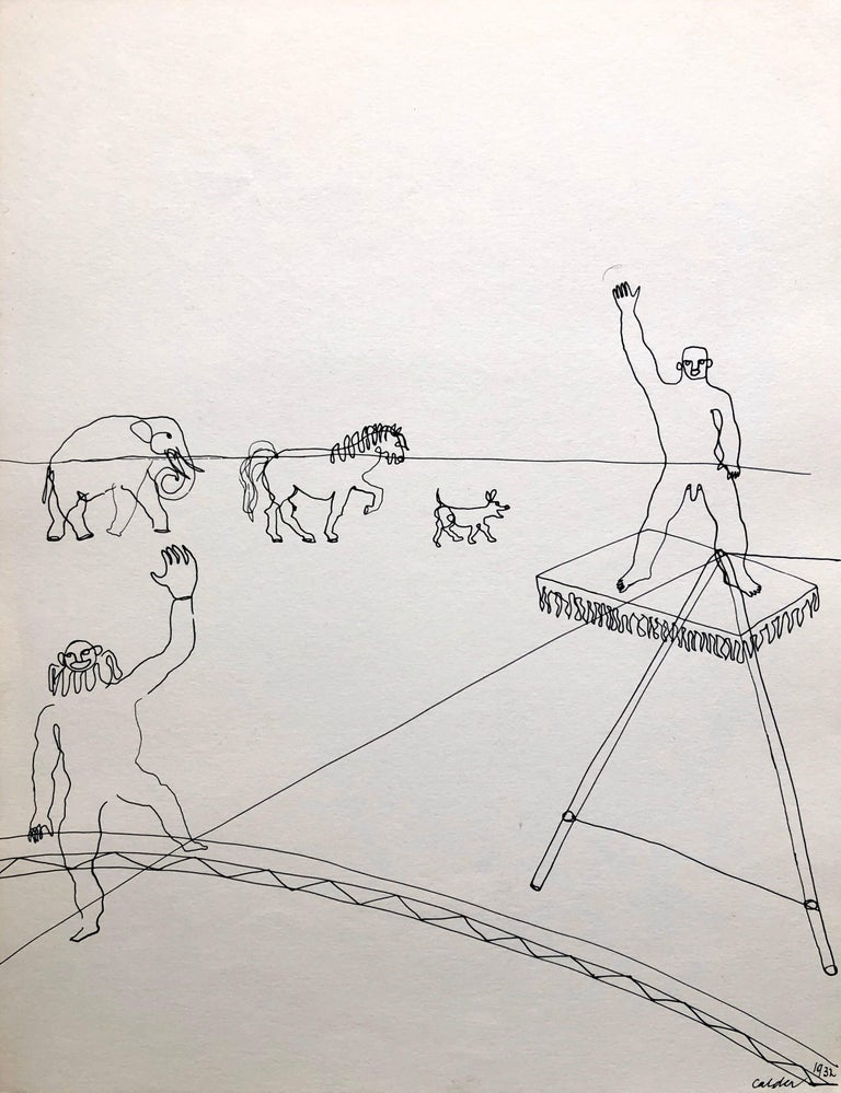 (after) Alexander Calder Figurative Print - Alexander Calder Circus Reproduction Lithograph After a Drawing