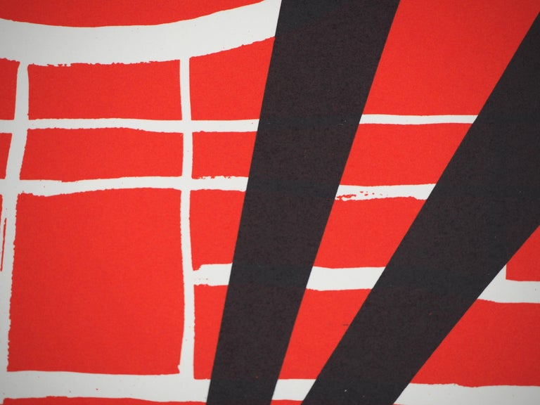Black Shadow (Stabiles sculptures) - Lithograph poster - Maeght 1969 - Abstract Geometric Print by (after) Alexander Calder