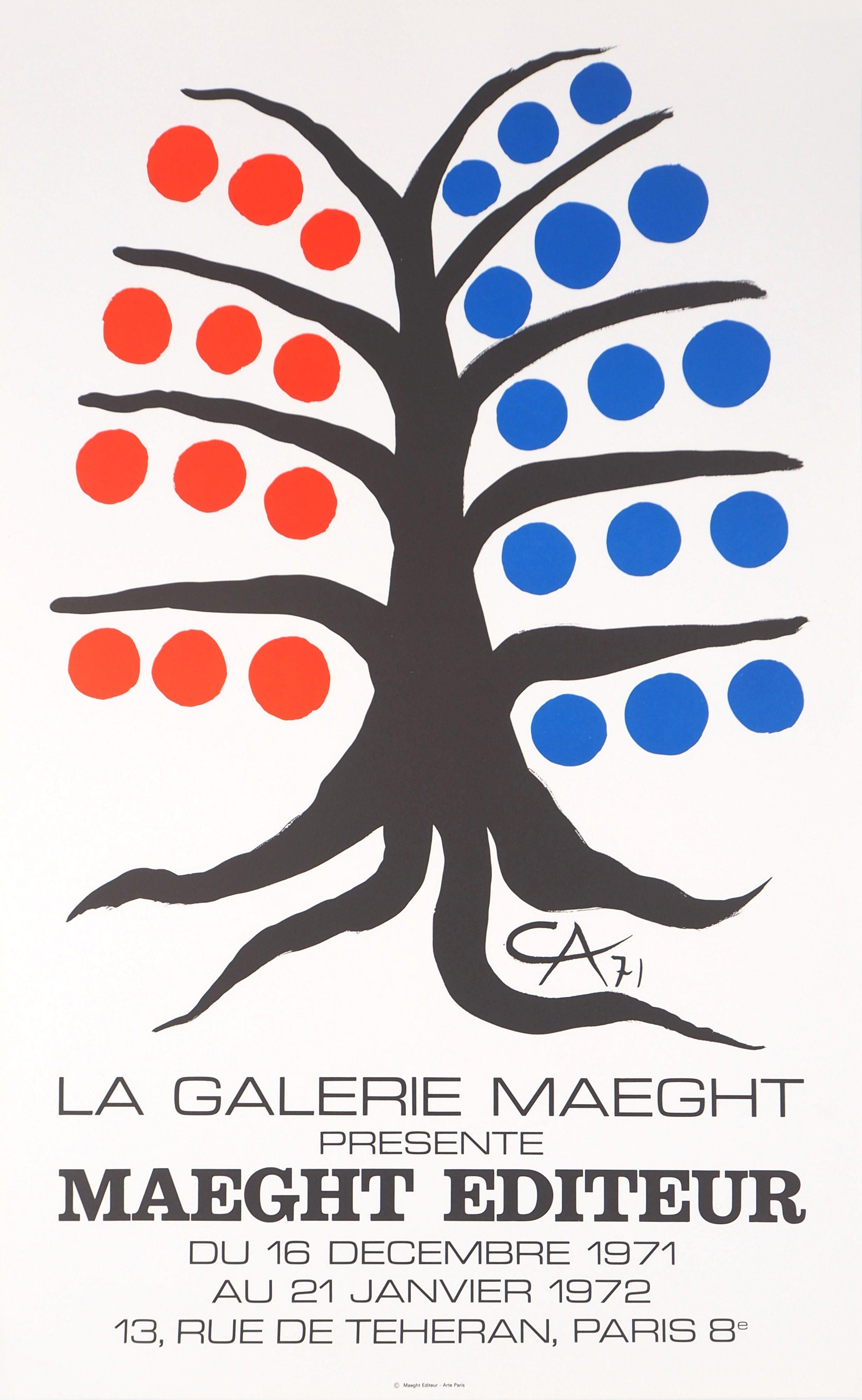 Black tree with red and blue fruits - Lithograph poster - Maeght 1971