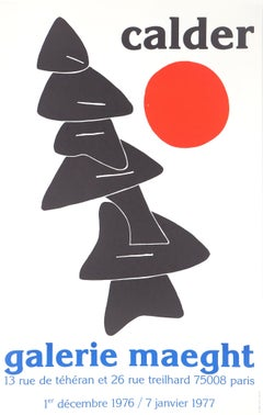 Black Tree with Red Sun - Lithograph poster - Maeght, 1976-77