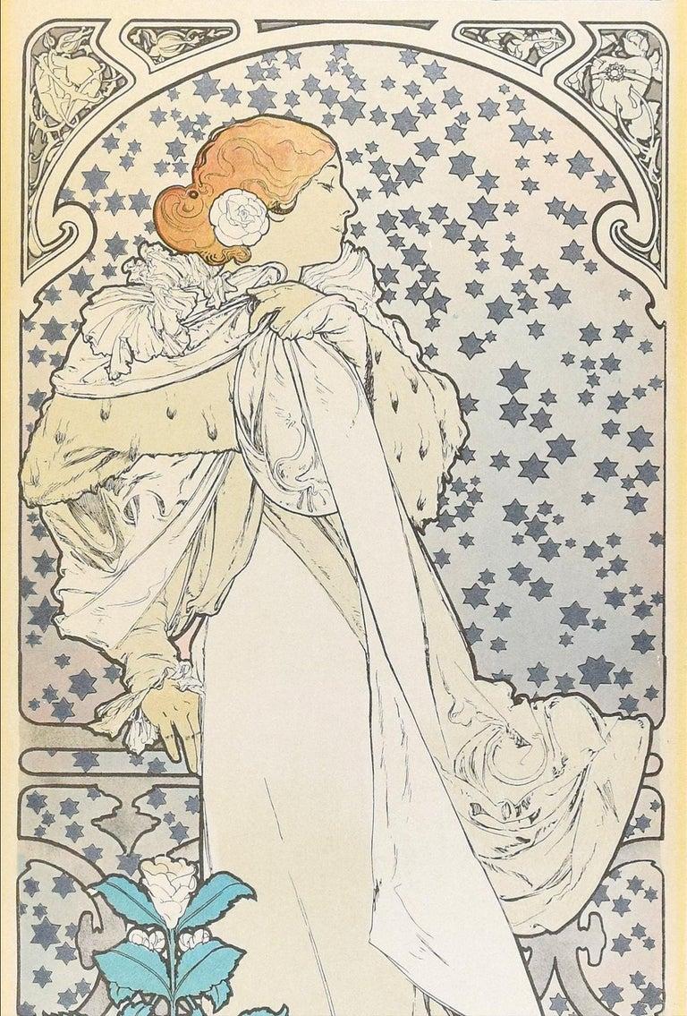 La Dame aux Camélias - Vintage Offset Print After A. Mucha - Gray Figurative Print by (after) Alphonse Mucha
