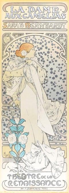 La Dame aux Camélias - Vintage Offset Print After A. Mucha