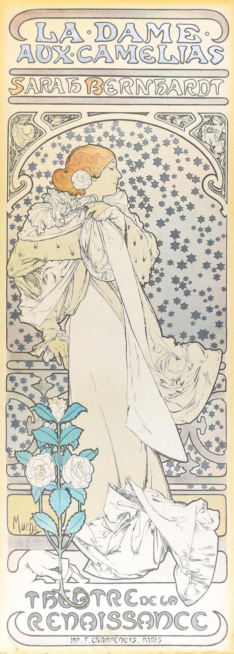 (after) Alphonse Mucha Figurative Print - La Dame aux Camélias - Vintage Offset Print After A. Mucha