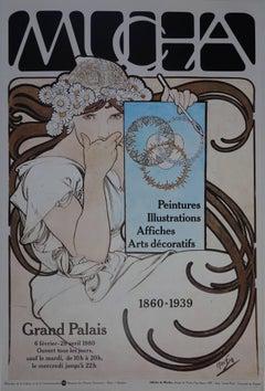 MUCHA, Art Deco - Vintage Exhibition Poster - Grand Palais, Paris 1980