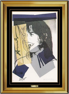 Andy Warhol Authentic Mick Jagger Portrait Lithograph Signed Framed Pop Artwork