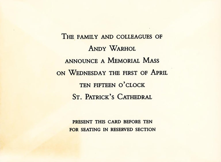 Andy Warhol Memorial Mass St. Patricks Cathedral 1987 (original invites) - Print by (after) Andy Warhol