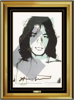 Andy Warhol Original Hand Signed Lithograph Mick Jagger Portrait Authentic Art