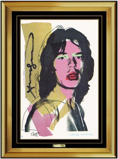 Andy Warhol Original Hand Signed Rolling Stones Mick Jagger Portrait Artwork SBO