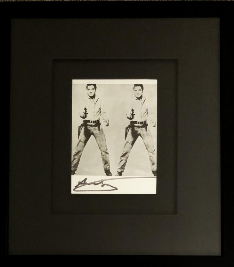 Double Elvis by Andy Warhol. A Signed Bookplate featuring one of the most iconic images of 20th-century art – Elvis Presley, dressed as a gunslinger (from a publicity shot for the movie Flaming Star) . An image Warhol chose to reproduce for his 1963