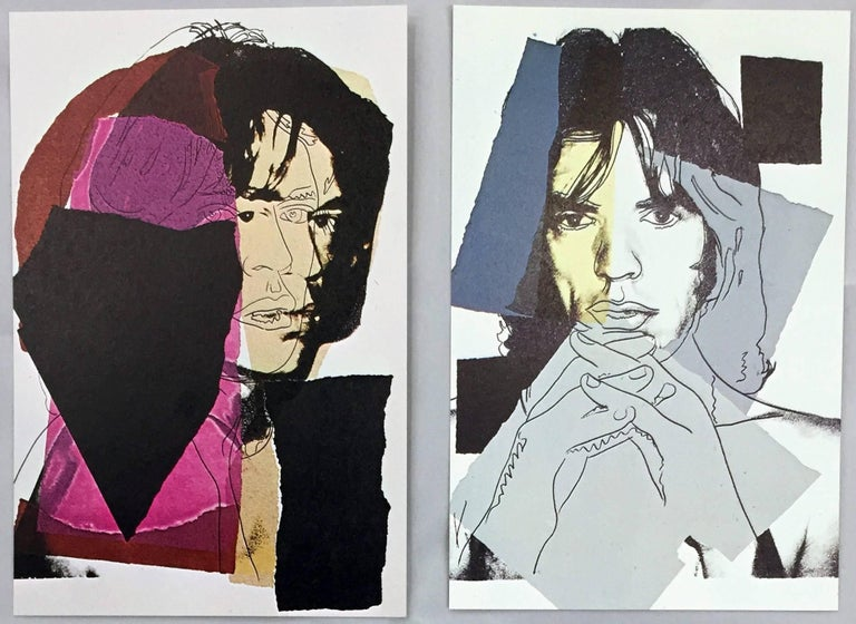 Andy Warhol, Mick Jagger, Leo Castelli 1975: A stunning set of ten announcement cards published by Castelli Graphics in 1975 to advertise the forthcoming portfolio of ten silkscreen prints by Andy Warhol of Mick Jagger, 1975. The very first