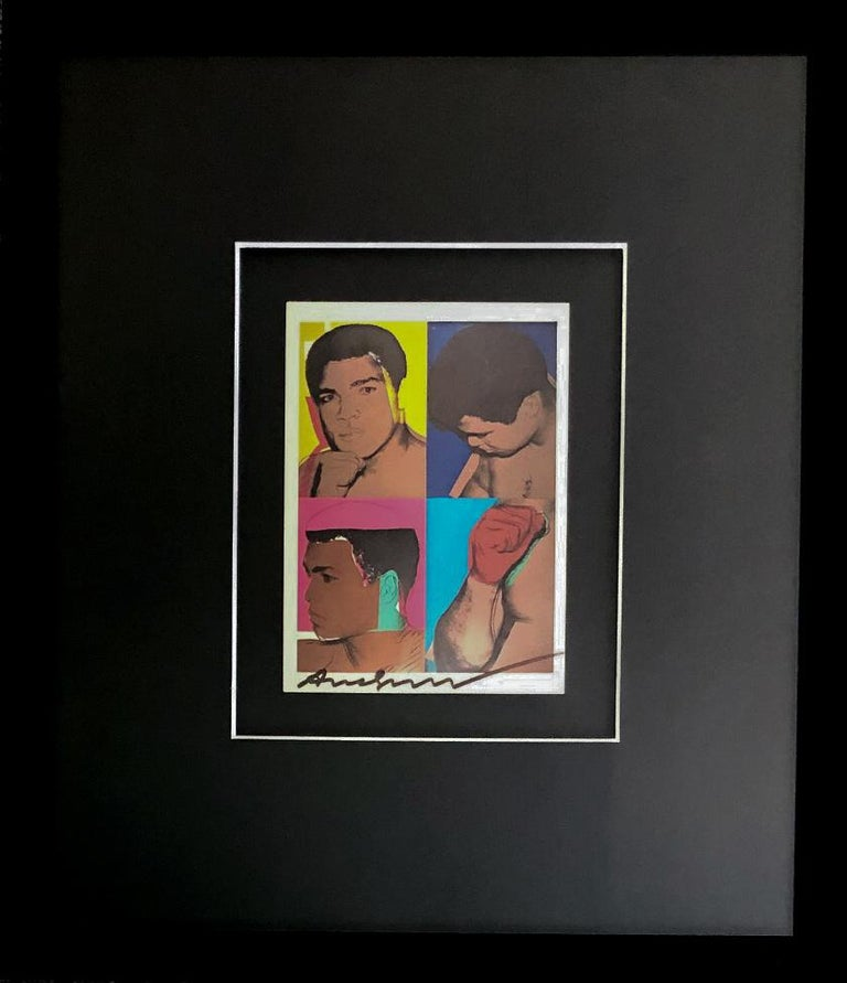 A signed exhibition postcard from 1978. This exhibition postcard was printed to commemorate the release of Warhol's set of four screenprints – Muhammad Ali, 1978. It has been signed by Warhol in felt pen along the bottom of the card. Andy Warhol
