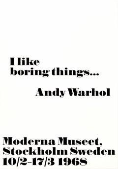 Original Vintage Andy Warhol Exhibition Poster I Like Boring Things Modern Art
