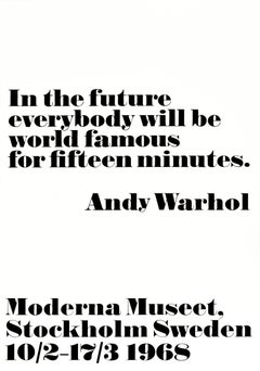 Original Vintage Andy Warhol Exhibition Poster World Famous For 15 Minutes Quote
