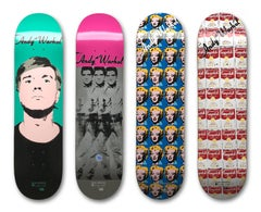 Set of 4 Skateboard Decks (Marilyn, Warhol Portrait, Elvis, Campbells Soup Cans)