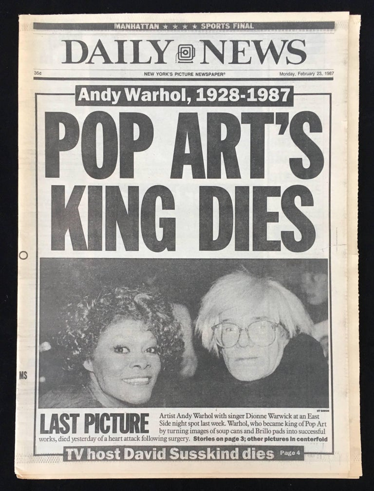 Warhol Dies! set of 4 NY newspapers announcing the death of Andy Warhol - Pop Art Photograph by (after) Andy Warhol