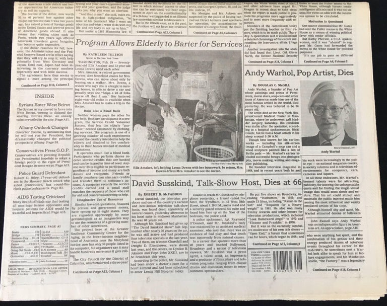 Warhol Dies! set of 4 NY newspapers announcing the death of Andy Warhol For Sale 2