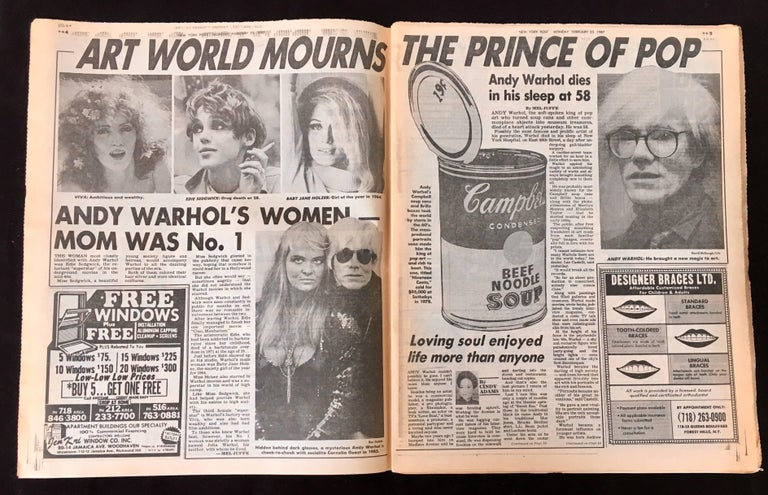 Warhol Dies! set of 4 NY newspapers announcing the death of Andy Warhol For Sale 3