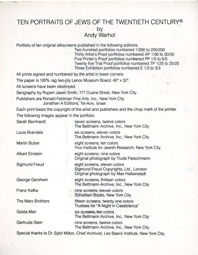 Warhol Portraits of Jews of the 20th Century  (set of 10 Warhol announcements)  For Sale 8