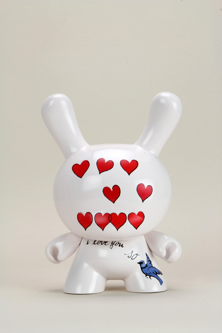 """(after) Andy Warhol Figurative Sculpture - Andy Warhol Foundations Kid Robot  """"I Love You So"""" Dunny"""