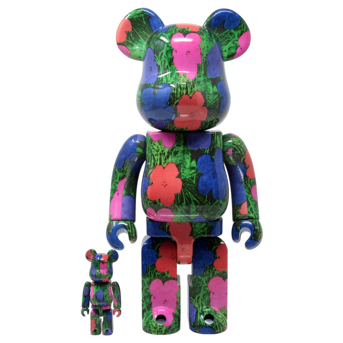 BEARBRICK ANDY WARHOL FLOWERS 400% & 100% Medicom Toy Japan Vinyl figure POP ART
