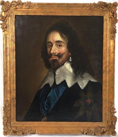 18thc Oil Portrait of King Charles 1st After Anthony Van Dyck