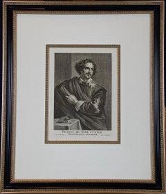 A Framed Portrait of Old Master Artist Petrus de Jode by Anthony van Dyck