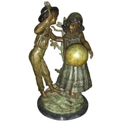 After August Moreau Antique Bronze Statue of a Boy and Girl Playing